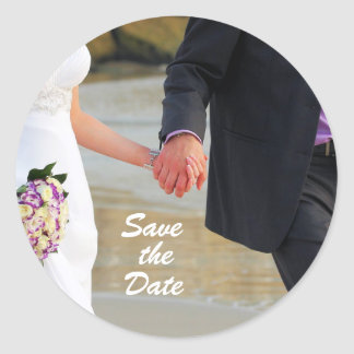 Save the Date Bridal Shower Classic Round Sticker