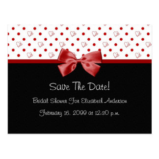 Save The Date Bridal Shower Girly Red Hearts Postcard