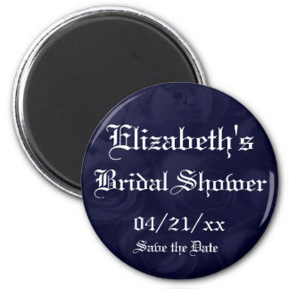 """Save the Date"" Bridal Shower-Navy Blue Roses 2 Inch Round Magnet"