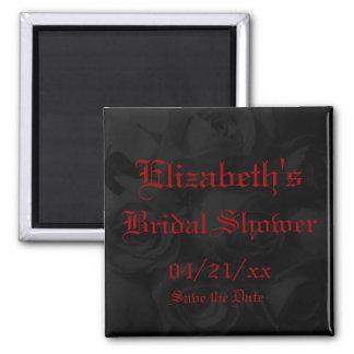 """Save the Date"" Bridal Shower-Rich Black Roses Magnet"