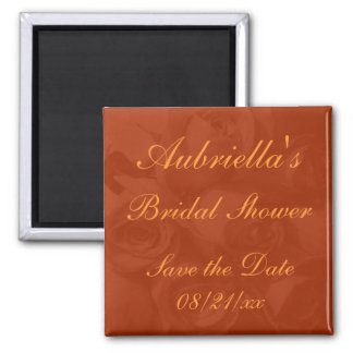 """Save the Date"" Bridal Shower - Roses in Orange[a] 2 Inch Square Magnet"