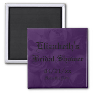 """""""Save the Date"""" Bridal Shower-Royal Purple Roses Magnet"""