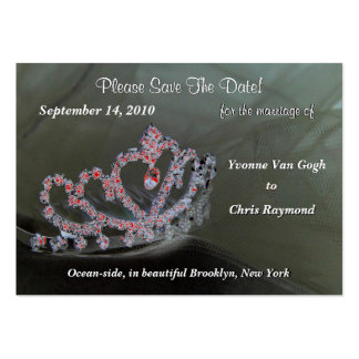 Save The Date Bridal Tiara In Black And Red Large Business Cards (Pack Of 100)