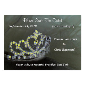 Save The Date Bridal Tiara In Black And Yellow Large Business Cards (Pack Of 100)