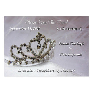 Save The Date Bridal Tiara In White And Black Large Business Cards (Pack Of 100)