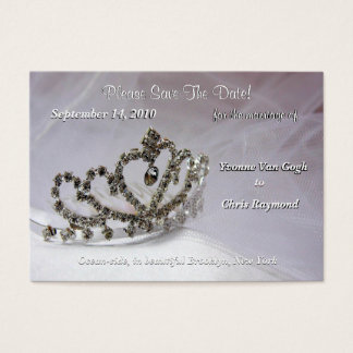 Save The Date Bridal Tiara In White And Black V Business Card