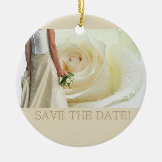 Save the Date Bride & Bouquet Ceramic Ornament
