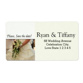 Save the Date Bride & Bouquet Label