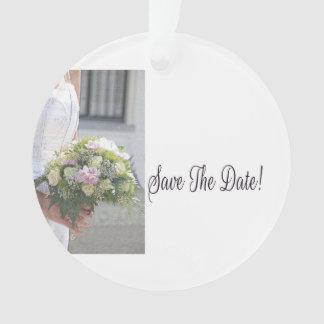 Save the Date Bride & Bouquet Ornament