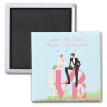 Save The Date Bride & Groom Sitting On Love 2 Inch Square Magnet