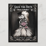 🎃  Save the Date Bride & Groom Skeletons Pink Flowers Announcement Postcard