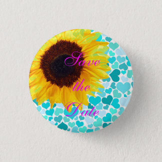 Save the Date Bride Sunflower Wedding Cute Hearts Button