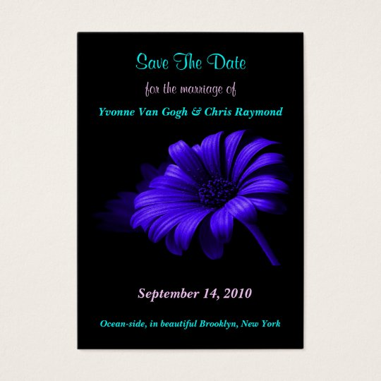 Save The Date Bright Blue Daisy II Business Card