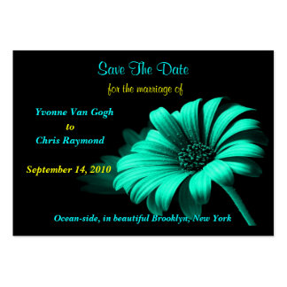 Save The Date Bright Blue Green Daisy Large Business Cards (Pack Of 100)