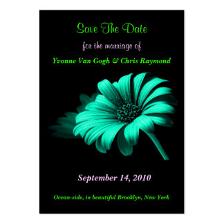 Save The Date Bright Blue Green Daisy I Large Business Cards (Pack Of 100)