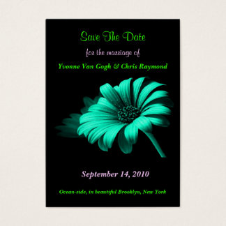 Save The Date Bright Blue Green Daisy I Business Card