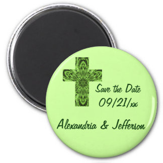 """""""Save the Date"""" - Bright Emerald Green Cross Magnet"""