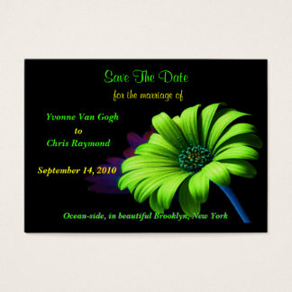 Save The Date Bright Green Daisy Business Card