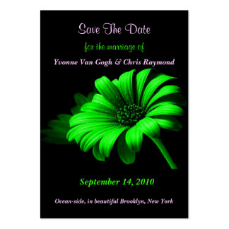 Save The Date Bright Green Daisy II Large Business Cards (Pack Of 100)