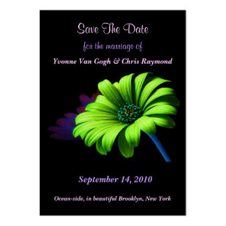 Save The Date Bright Green Daisy III Business Card