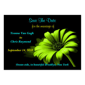 Save The Date Bright Green Yellow Daisy Large Business Cards (Pack Of 100)