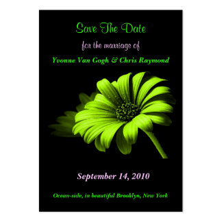 Save The Date Bright Green Yellow Daisy I Large Business Cards (Pack Of 100)