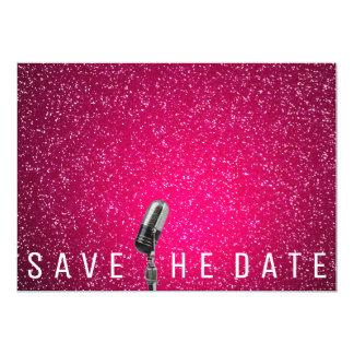 Save The Date Bright Pink Glitter Microfone Card