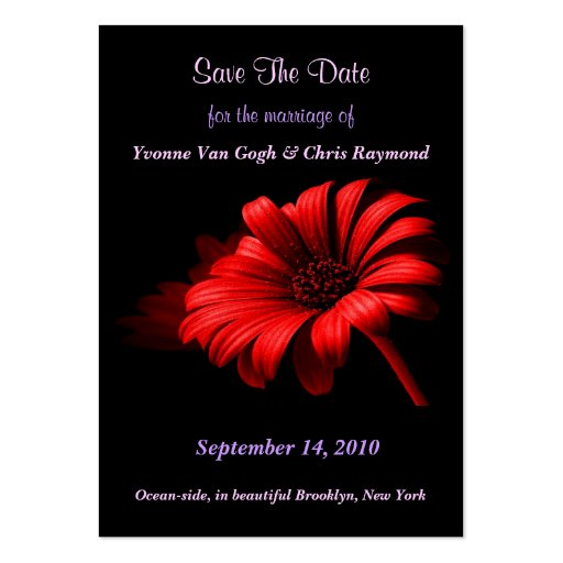 Save The Date Bright Red Daisy I Business Card Template