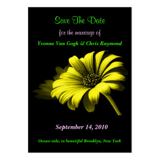 Save The Date Bright Yellow Daisy I Large Business Card