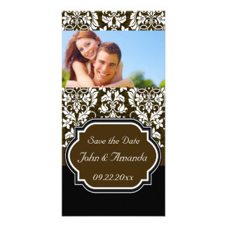 Save the Date ~ Brown and Black Damask Photo Cards