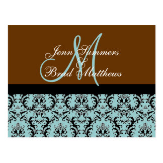 Save the Date Brown Blue  Damask Monogram Card Post Card