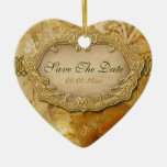 """""""Save the date"""" brown gold vintage wedding Christmas Tree Ornament"""