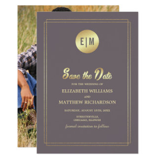 Save the Date.  Brown Gold Wedding Photo Cards