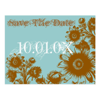 Save The Date -Brown on Blue Vintage Flowers Postcards