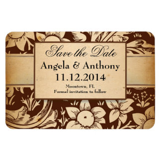 save the date brown vintage damask magnets