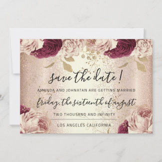 Save The Date Burgundy Rose Gold Roses Marsala
