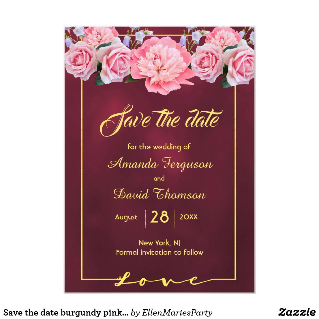 Save the date burgundy with pink flowers