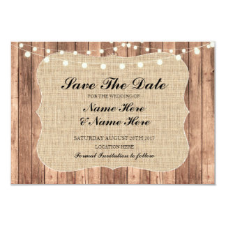 Save The Date Burlap Wood Rustic Wedding Card