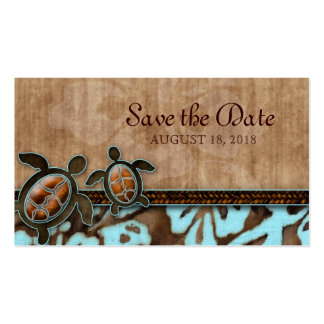 Save the Date Business Card Turtles Brown Blue