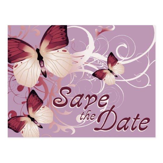 save the date : butterflies : postcard