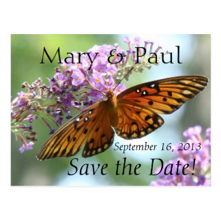 Save the Date Butterfly Postcard