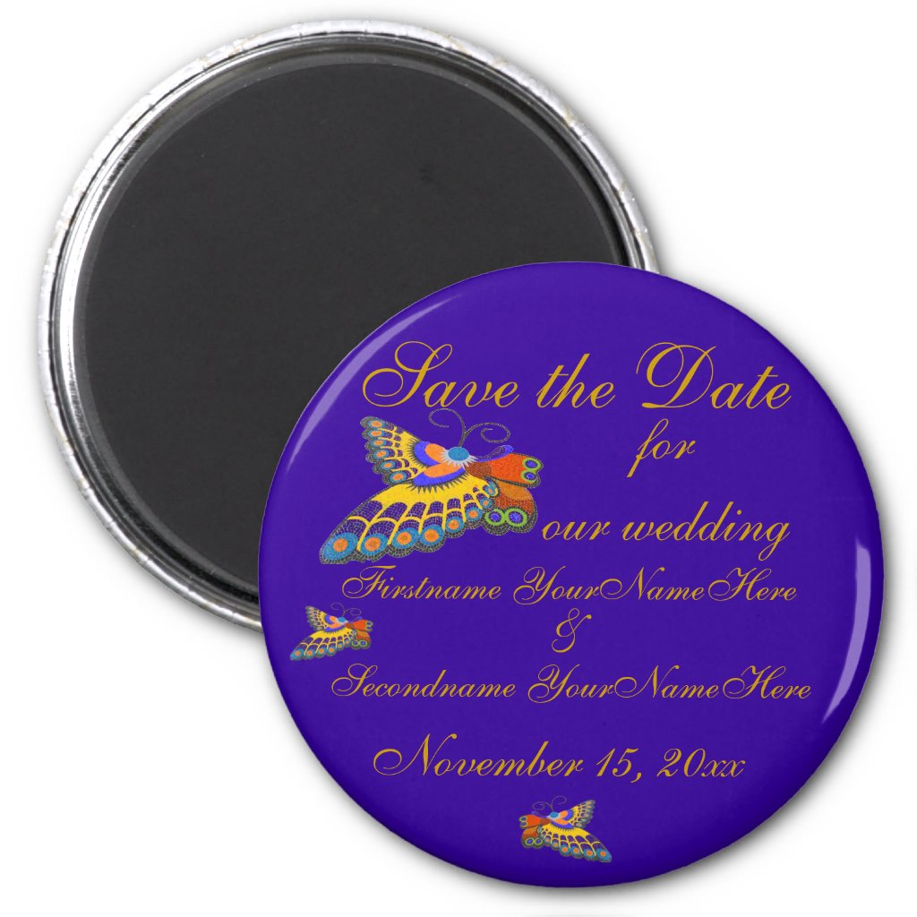 Save the Date Butterfly Wedding Gold Purple Magnet