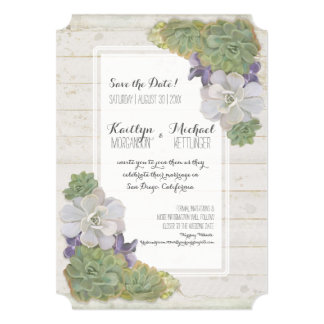 Save the Date Cactus Succulent Wooden Desert West Card