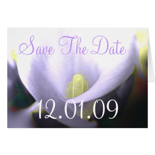 Save the Date Cala Lily - Lavender Greeting Cards