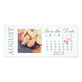 Save the Date Calendar: August 2013 Card