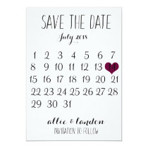 Save The Date Calendar Card