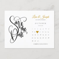 Save the Date Calendar Gold Love Heart Postcard