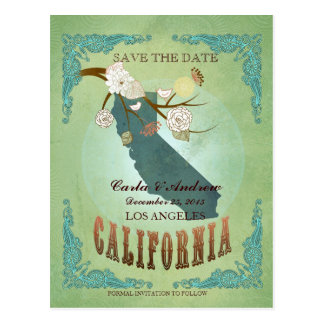 Save The Date - California Map With Lovely Birds Postcard