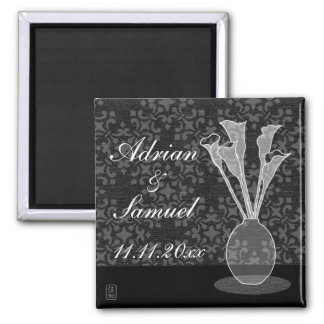 Save The Date Calla Lily Square Magnet