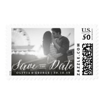 Save The Date Calligraphy Photo Wedding Stamps